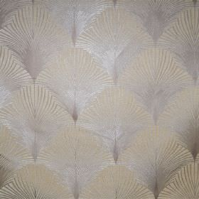 New York - Empire - Fan shapes in silver and cream printed repeatedly over this fabric
