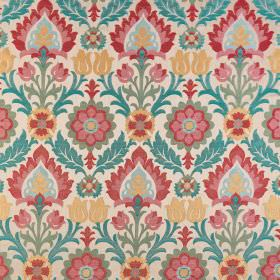 Carnival - Mariana - Cream coloured polyester-viscose blend fabric with a large, repeated pattern in red, pink, yellow and turquoise shades