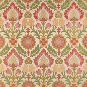 Carnival - Salvador - Dusky greens, pinks and yellows making up a large, repeated pattern on cream coloured polyester-viscose blend fabric