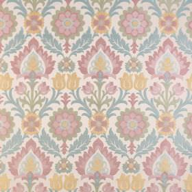 Carnival - Olinda - Pastel coloured polyester-viscose blend fabric with a repeated print featuring pink, blue, yellow, green and off-white