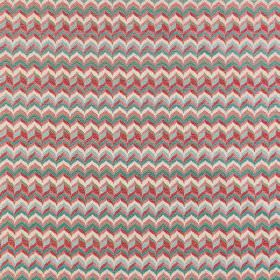 Samba - Mariana - Small, tightly packed, multicoloured zigzags patterning polyester-viscose blend fabric including some reds and greys
