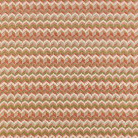 Samba - Salvador - Polyester-viscose blend fabric covered in tight, small zigzags in various colours including shades of orange and green