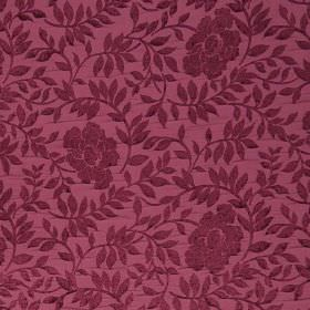 Florenza - Amaranto - Floral and leaf patterned plum coloured hard wearing fabric