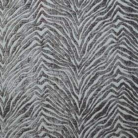 Leonardo - Peltro - Silver animal stripes which are textured and zigzagged against a very pale blue hard wearing fabric background