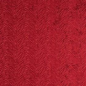 Leonardo - Nastro - Textured, zigzagging animal stripe pattern hard wearing fabric in deep, rich red