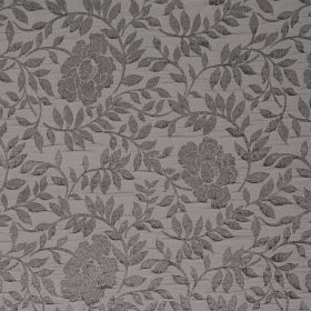 Florenza - Peltro - Raised, textured grey flowers and leaves on a background in lighter grey, in a fabric which is hard wearing