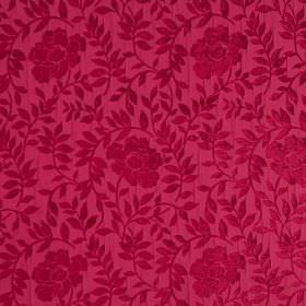Florenza - Caldo Rosa - Dark red-pink flowers and leaves patterning a pink hard wearing fabric background
