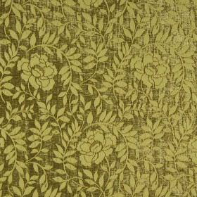 Florenza - Cedro - Metallic olive green coloured hard wearing fabric with a floral and leaf pattern in a lighter shade of green