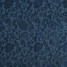 Florenza - Orizzonte - Dark blue flowers and leaves raised and textured on a hard wearing fabric background in dark blue