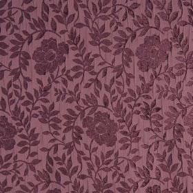 Florenza - Notturno - Luxurious purple hard wearing fabric featuring a floral and leaf pattern which is slightly raised and textured