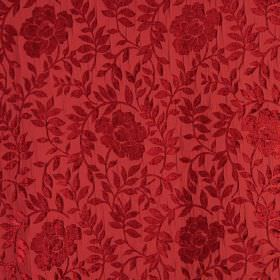 Florenza - Nastro - Textured ruby red flowers and leaves on a hard wearing fabric background of dark, dusky red