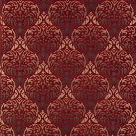 Safari - Masai - Luxurious copper, burgundy and dark grey polyester-acrylic blend fabric with a large, ornate, repeated pattern