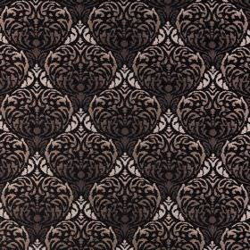 Safari - Chobe - Polyester-acrylic blend fabric with a large, luxurious, repeated, ornate pattern in various shades of black and grey