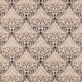 Safari - Kruger - A large, ornate, repeated pattern in various shades of cream and brown on fabric blended from polyester and acrylic