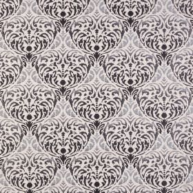 Safari - Serengeti - Off-white polyester-acrylic blend fabric covered with an ornate repeated patternwhich is black and grey in colour