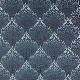 Safari - Bwindi - Indulgent polyester-acrylic blend fabric in various shades of blue with a large, repeated pattern which is very ornate