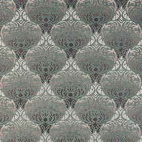 Safari - Luangwa - Greys and light green making up an ornate, highly patterned polyester-acrylic blend fabric which is very luxurious