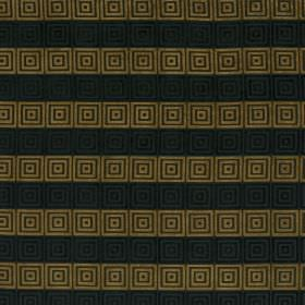 Rhytmo - Boa - Dark grey and green-gold striped fabric, repeatedly patterned with small squares ofblack and dark brown