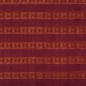 Rhytmo - Berry - Fabric with rows of marroon and burnt orange stripes, each covered in a repeated pattern of concentric squares
