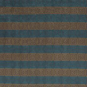 Rhytmo - Dragonfly - Horizontal stripes of blue and brown, with a square pattern in purple and dark brown on this fabric