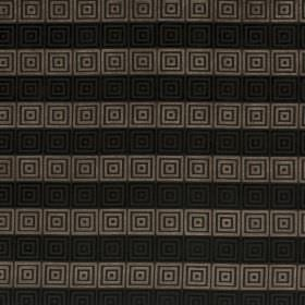 Rhytmo - Lark - Fabric with a striped pattern and concentric squares in different shades of grey and black
