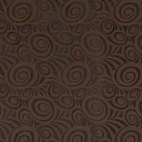 Rumba - Cashew - Very dark green swirls on a plain brown fabric background