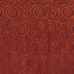 Rumba - Berry - Burnt orange coloured fabric featuring a pattern of dark purple swirls