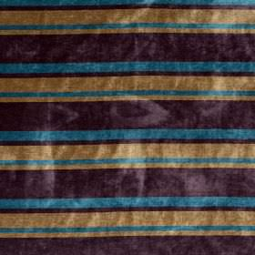 Tango - Dragonfly - Horizontally striped fabric in dark purple, caramel and azure blue colours