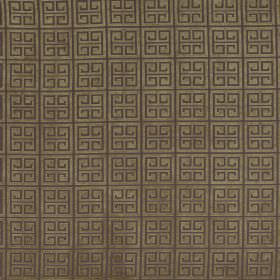 Bolero - Dragonfly - Green-gold fabric with a pattern of dark brown squares and squared-off swirls
