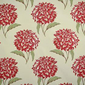 Dalia - Berry - Individual red flowers, each with two green leaves, on a very pale green coloured fabric background