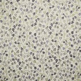 Padua - Prune - Fabric in white, patterned with small leaves and curving vines in various shades of black, grey and green