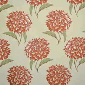 Dalia - Paprika - Fabric in a very pale green colour, with a green and dusky red-orange large, repeated floral pattern