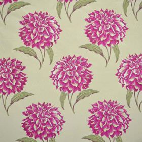 Dalia - Bonbon - Very pale green coloured fabric, with a large, repeated floral pattern in bright pink, with green leaves
