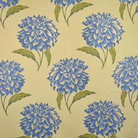 Dalia - Delft - Large cobalt blue flowers with green leaves printed in rows on a background of light yellow-cream coloured fabric