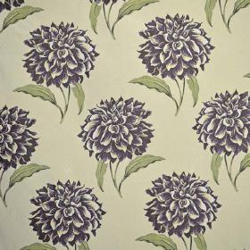 Dalia - Prune - Dark purple-grey flowers printed with green leaves on a background of light green coloured fabric