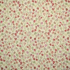 Padua - Berry - Tiny florals, mostly in shades of red and pink, on a fabric background in a very light shade of green