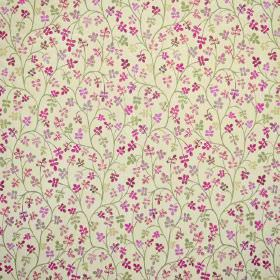 Padua - Bonbon - Pink, purple, grey and cream coloured leafy flower shapes printed with green vines on very pale green coloured fabric
