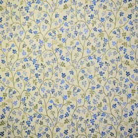 Padua - Delft - Cream coloured fabric, patterned with groups of tiny leaves and long curving vines in different shades of blue and green