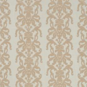La Quinta - Beige - Ornate caramel coloured swirls running in rows down off-white coloured hard wearing fabric