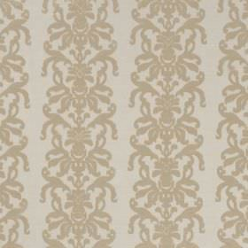 La Quinta - Seagrass - Gold-cream coloured ornate swirls running down off-white coloured fabric which is hard wearing