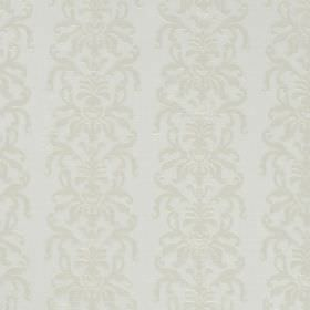 La Quinta - Cream - Very subtly patterned white hard wearing fabric featuring a design of rows of swirls in off-white