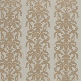 La Quinta - Lark - Pale grey hard wearing fabric as a background for gold coloured ornate swirls arranged in vertical rows