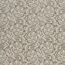 La Casitas - Partridge - Brown and very pale grey coloured hard wearing fabric with a pattern of florals which are swirled