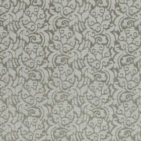 La Casitas - Birch - Light grey floral swirls on a dark grey hard wearing fabric background
