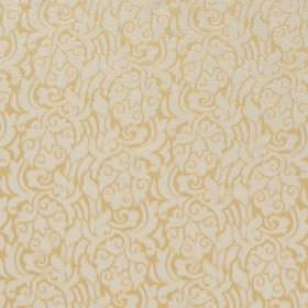 New Orleans - Nugget - Fabric which is hard wearing, with a swirled floral pattern in gold and light grey