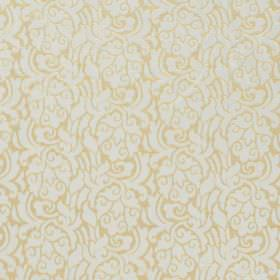 New Orleans - Custard - Busily patterned gold and white coloured hard wearing fabric, featuring swirled floral shapes