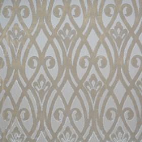 Sofia - Cremisi - Overlapping wavy beige lines and swirls over a pale grey 100% polyester fabric background