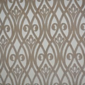 Sofia - Bigiuccia - Pale grey polyester fabric behind a design of overlapping wavy lines and swirls in grey-brown