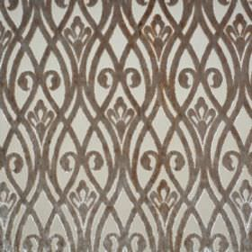 Sofia - Bruno - Polyester fabric the colour of putty, patterned with brown swirls and wavy lines which overlap each other
