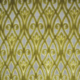 Sofia - Verde - Fabric made from light grey polyester, with an apple green design on top featuring wavy lines and swirls which overlap